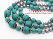 Gray Freshwater Pearl and Turquoise Necklace is sold at $17.89